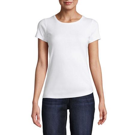 St. John's Bay-Womens Crew Neck Short Sleeve T-Shirt, Petite X-large , White