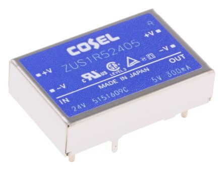 Cosel 1.5W Isolated DC-DC Converter Through Hole, Voltage in 18 → 36 V dc, Voltage out 5V dc