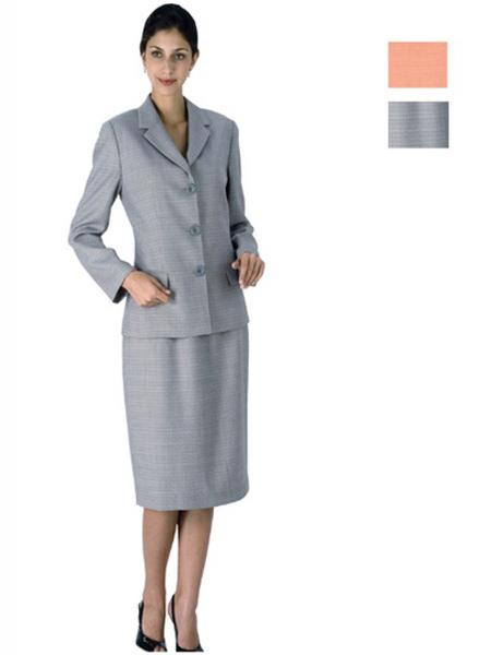 Womens 3 Button Notch Lapel Gray Suit