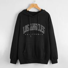Letter Graphic Drop Shoulder Hoodie