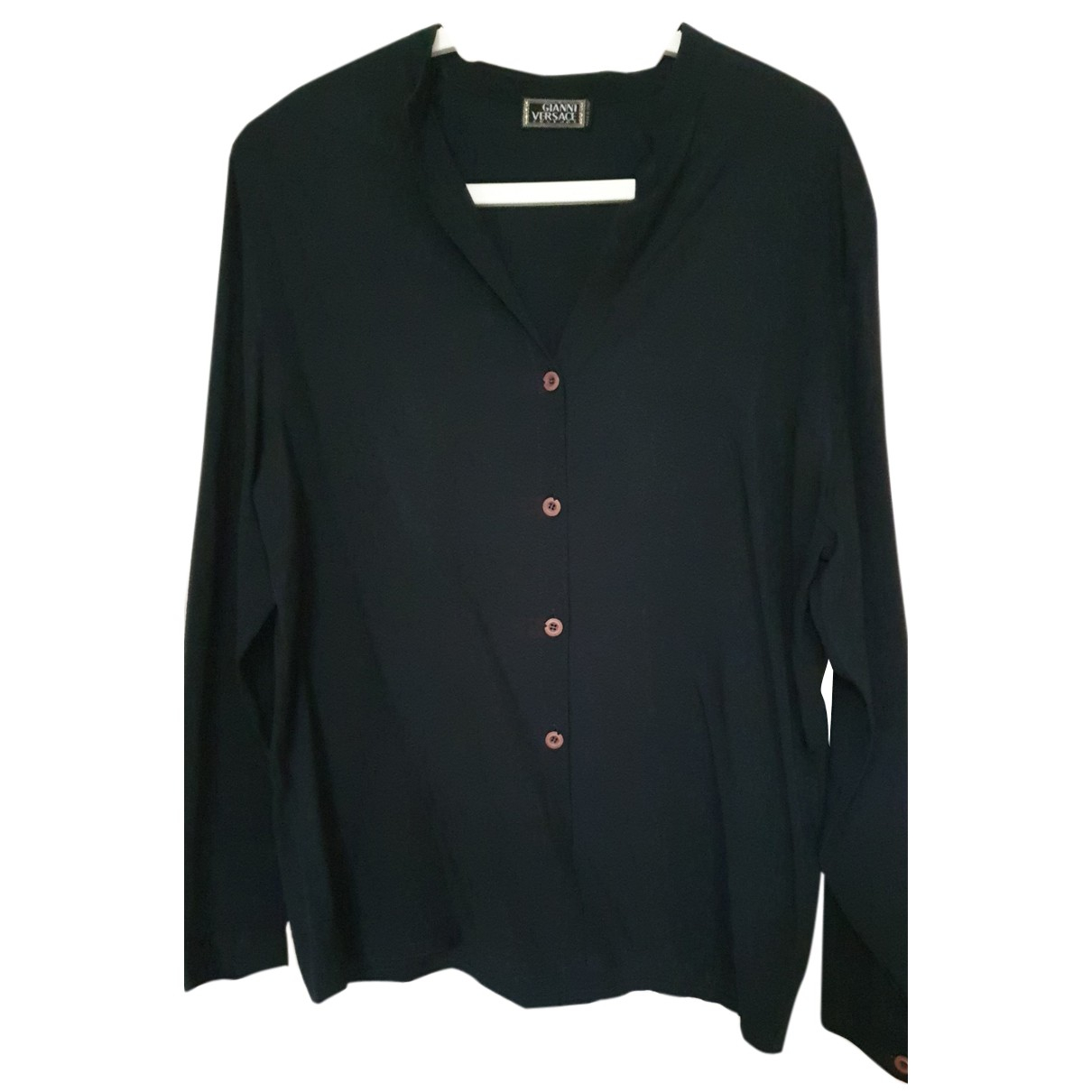 Gianni Versace N Navy Silk  top for Women 44 IT