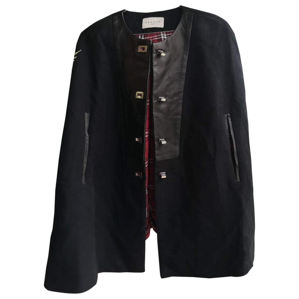Sandro - Manteau   pour femme en coton - noir