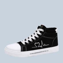 Men Lace-up Front Geometric Embroidery Sneakers