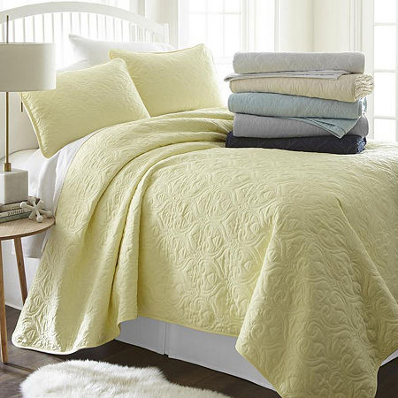 Casual Comfort Premium Ultra Soft Damask Pattern Quilted Coverlet Set, One Size , Yellow