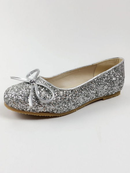 Milanoo Sweet Lolita Shoes Round Toe Flat Bows Sequined Grey Lolita Shoes