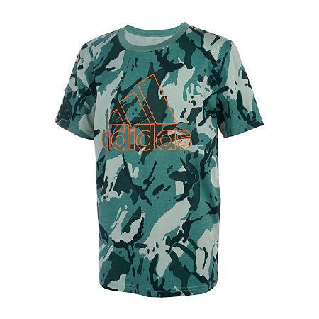 adidas Big Boys Crew Neck Short Sleeve T-Shirt, Medium (10-12) , Green