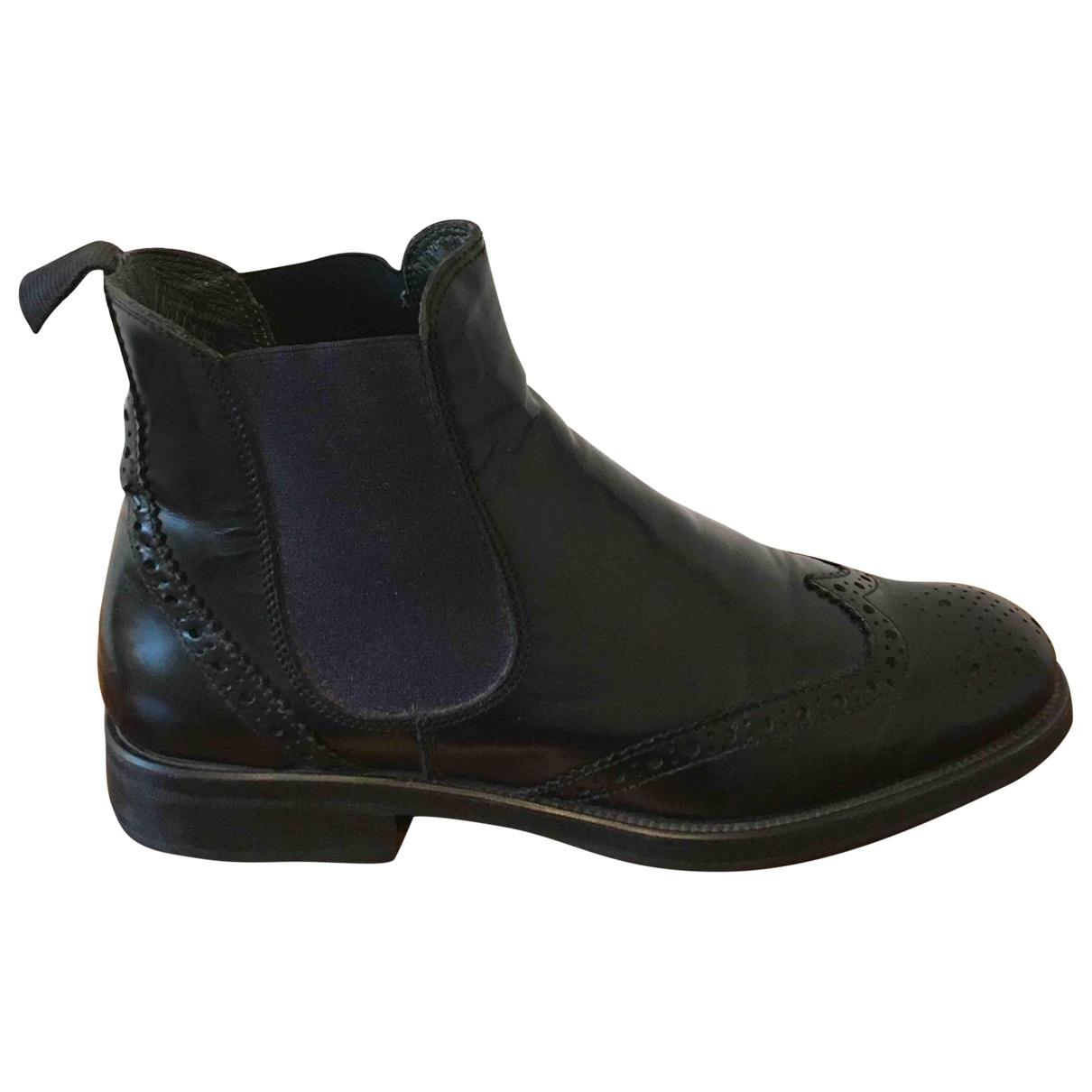 - Boots   pour femme en cuir - marine