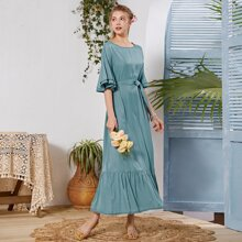 Flounce Sleeve Solid Belted Dress