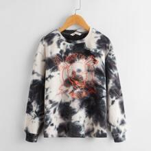 Pullover mit Buchstaben & Schaedel Muster und Batik