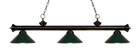 Riviera 200-3BRZ-MDG 14 3 Light Billiard Light Traditional  Classical  Billiardhave Steel Frame with Bronze finish in Dark