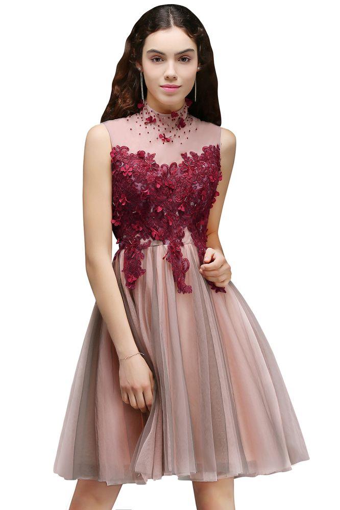 ANIKA | Vestido de fiesta corto y delicado con flores en linea