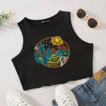 Cactus & Sun Print Crop Tank Top
