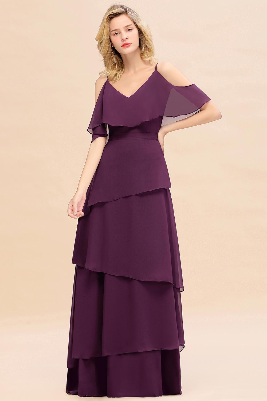 BMbridal Chic Cold-Shoulder Layers Grape Chiffon Bridesmaid Dress Affordable