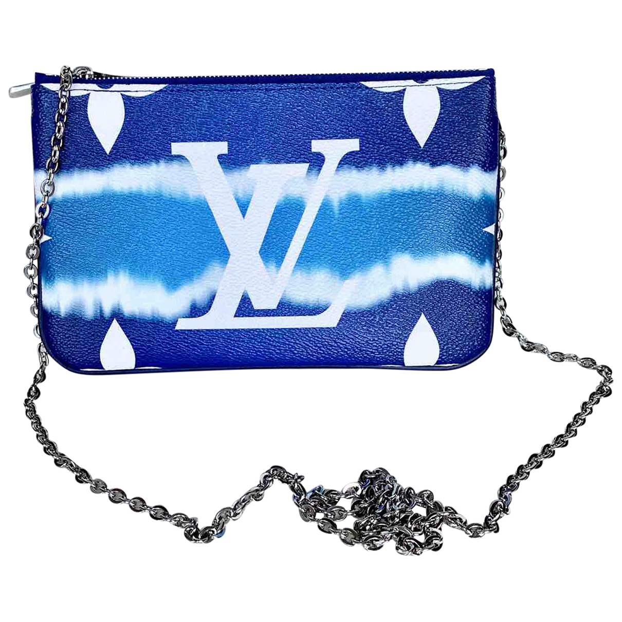 Louis Vuitton Double zip Clutch in  Blau Leinen