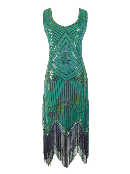 Milanoo 1920s Fashion Style Outfits Flapper Dress Sequin Fringe Great Gatsby Costume Women's Retro 20S Party Dress
