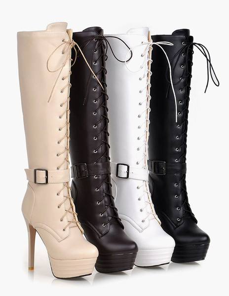 Milanoo Platform Knee High Boots Womens Patent PU Lace Up Round Toe Stiletto Heel Winter Boots