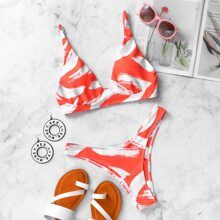 Brush Print Cheeky Bikini Swimsuit
