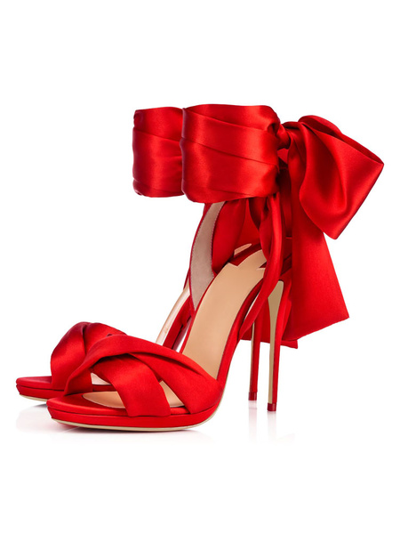 Milanoo Prom Heels Red Satin Ankle Strap Lace Up Sandals