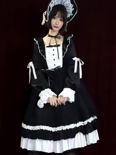 Milanoo Vestido clasico Lolita OP Lorna Autumn Ruffles Vestidos negros de una pieza de Lolita