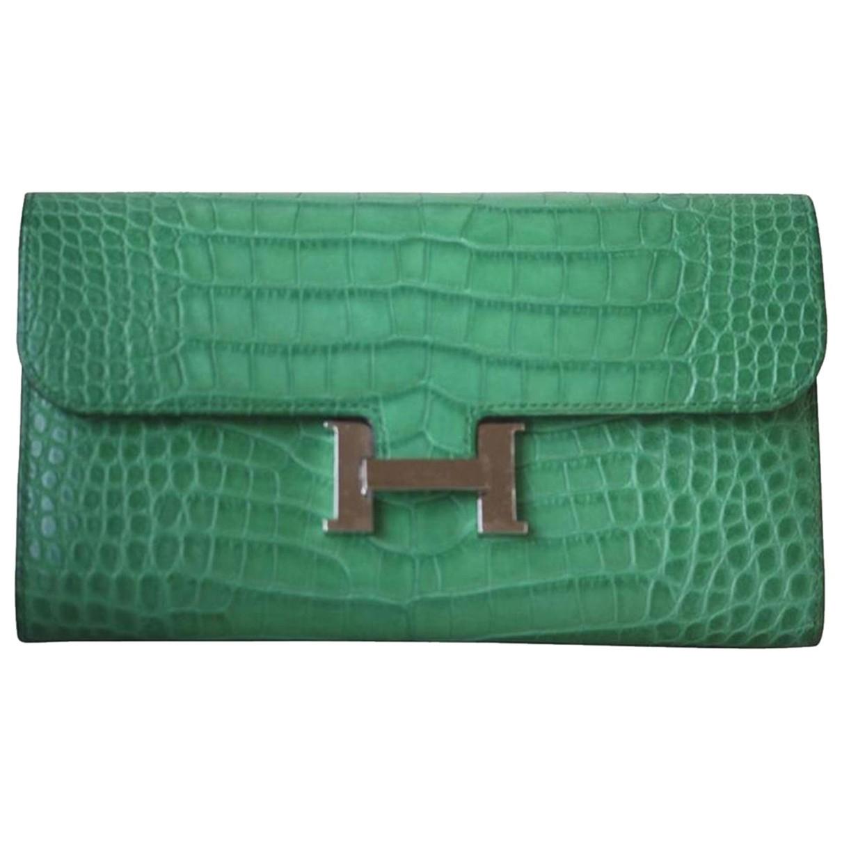 Hermes - Portefeuille   pour femme en cuir exotique - vert