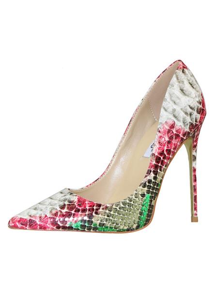 Milanoo Red High Heels Pointed Toe Heel Women Snake Pattern Slip On Pumps For Women