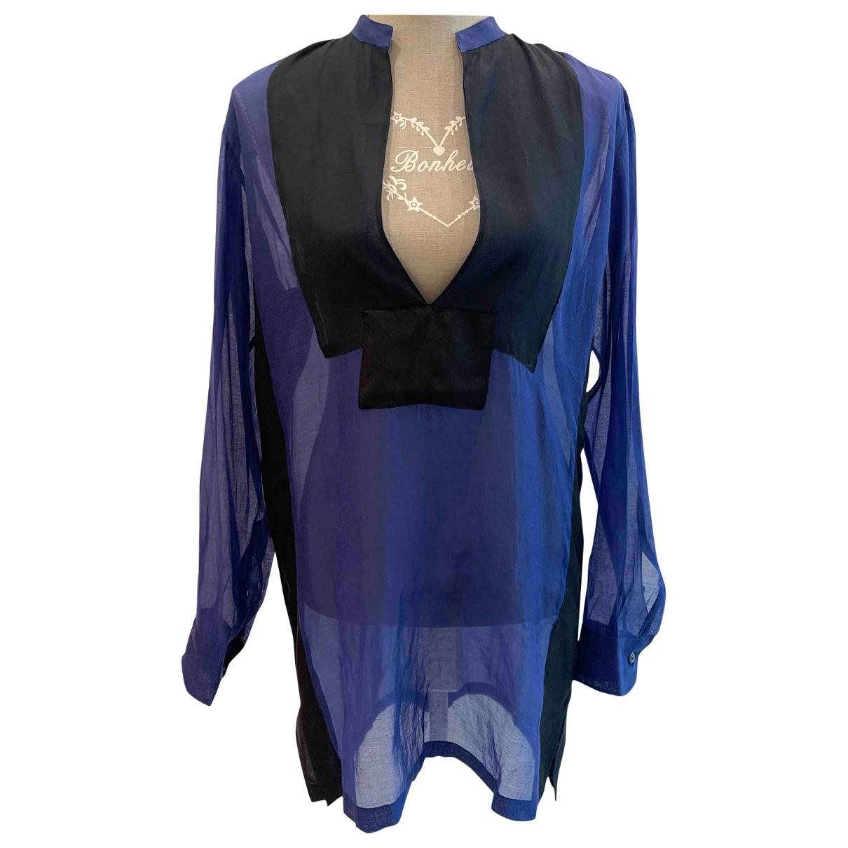 Dries Van Noten - Top   pour femme en soie - bleu