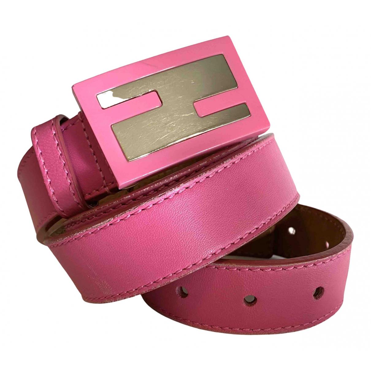 Fendi \N Pink Leather belt for Women 95 cm