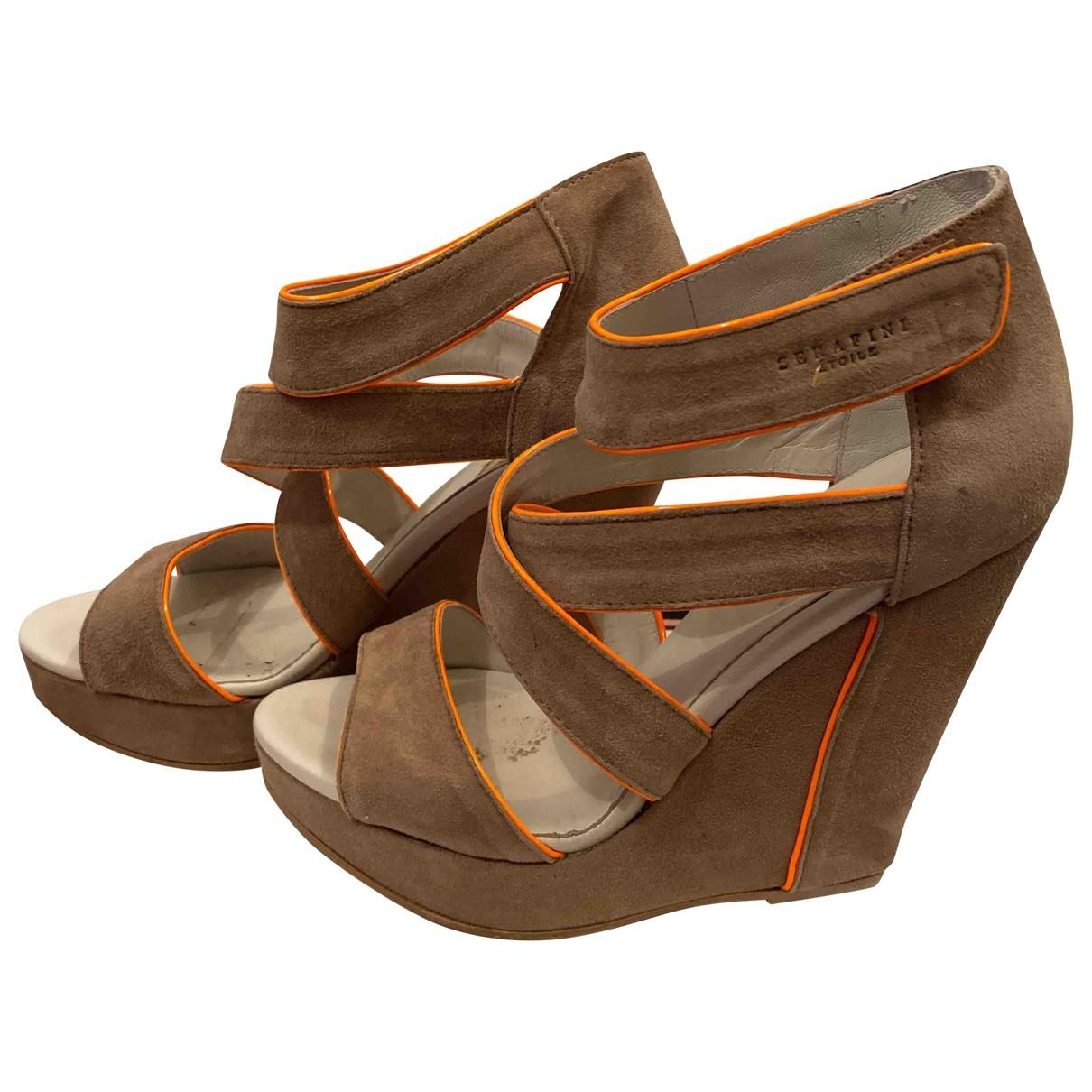Serafini - Sandales   pour femme en suede - beige