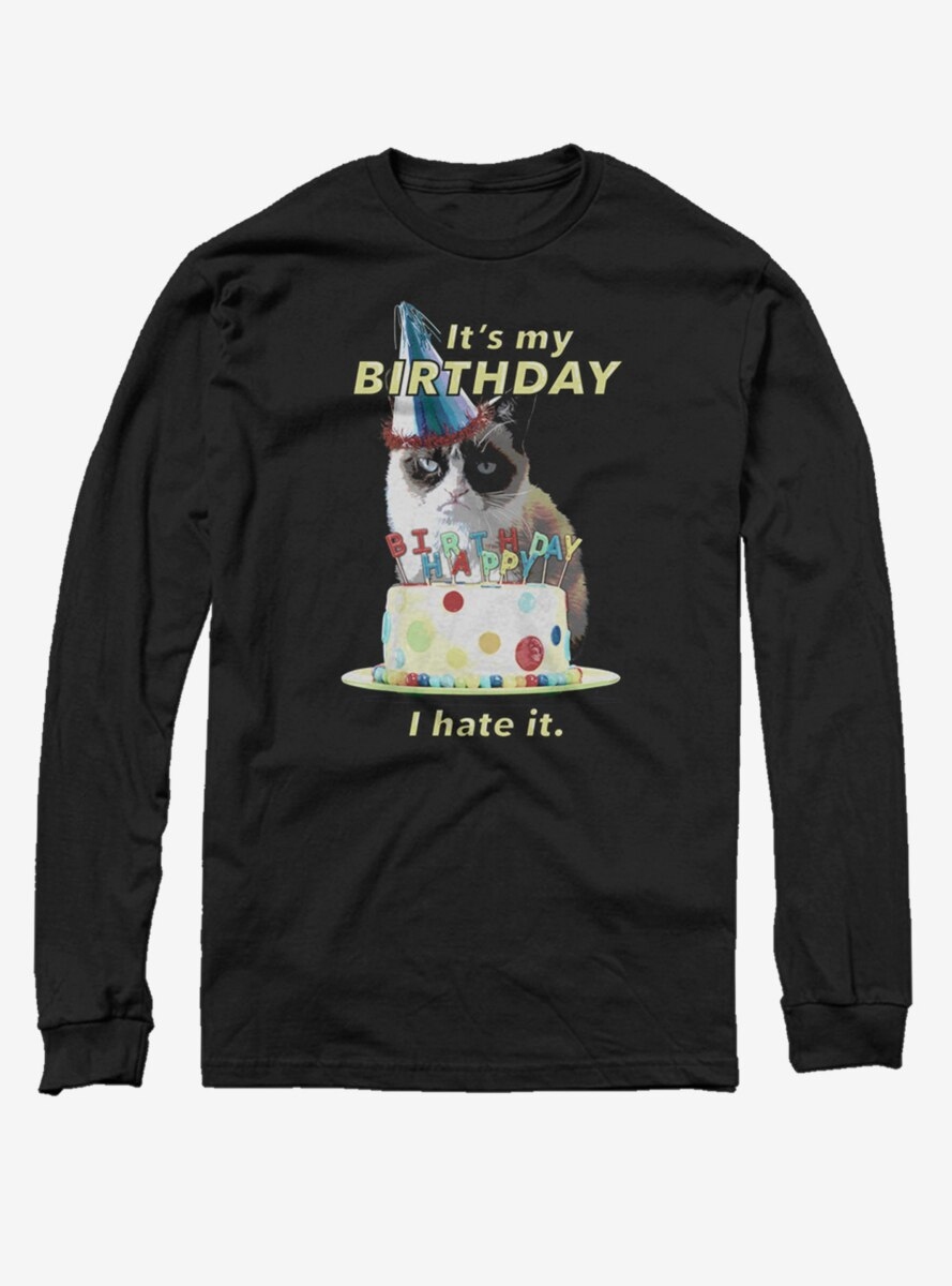 Grumpy Cat Hate Bday Long-Sleeve T-Shirt