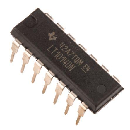 Texas Instruments LT1014DN , Op Amp, 1MHz, 9 → 28 V, 14-Pin PDIP (5)