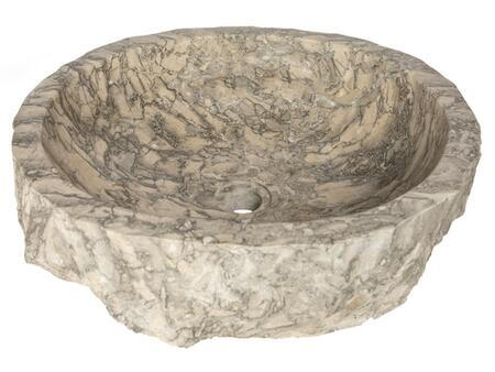 EB_S051GR-P Rustic Grigio Marble Sink with Rough Exterior - Polished