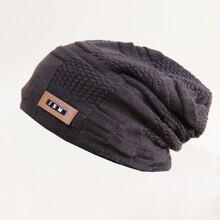 Guys PU Leather Label Patch Beanie