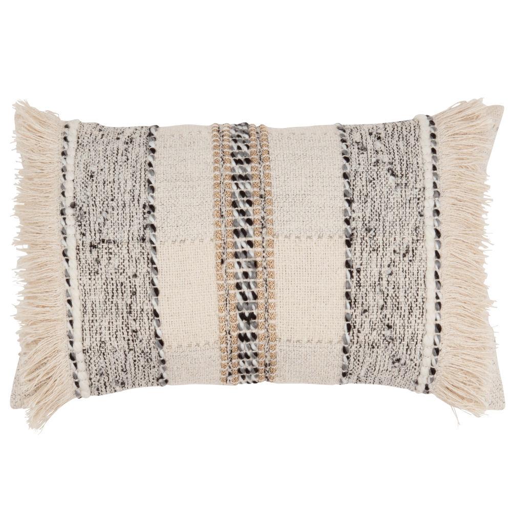 Kissenbezug aus Baumwolle, ecrufarben und grau 30x50