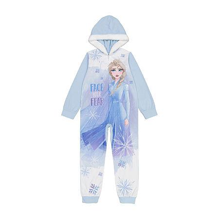 Little & Big Girls Microfleece Frozen Long Sleeve One Piece Pajama, 4 , White