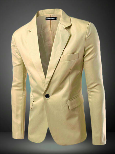 Milanoo Men Blazer Casual 2020 Blazer For Men Single Button Notch Collar Long Sleeve Suit Jacket