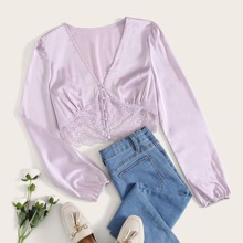 Contrast Lace Covered Button Satin Blouse