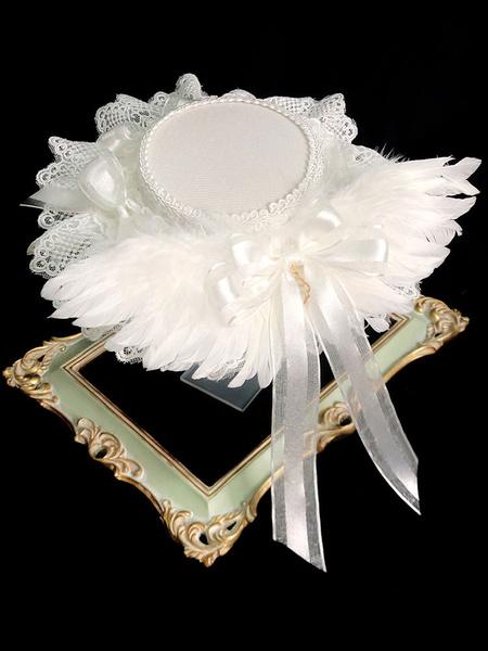 Milanoo Lolita Wedding Hat White Bows Feathers Lace Lolita Accessories