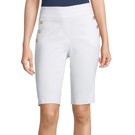 Liz Claiborne Womens Mid Rise Stretch Pull-On Short, Xx-large , White