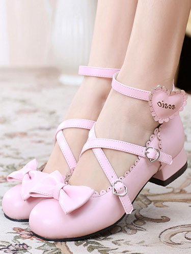 Milanoo Sweet Lolita Shoes Round Toe Chunky Heel Bows Cross Cross White Lolita Shoes