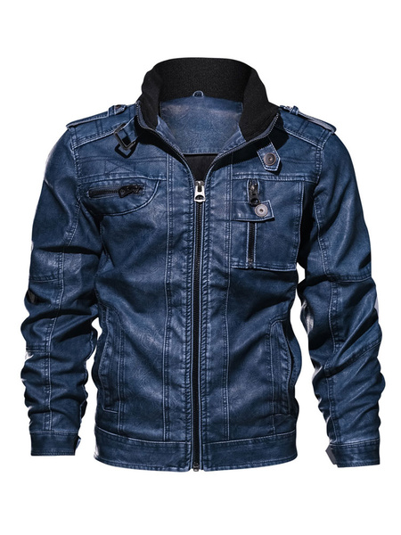 Milanoo Men Leather Jacket Plus Size PU Biker Jacket Stand Collar Buckle Pocket Motorcycle Jacket