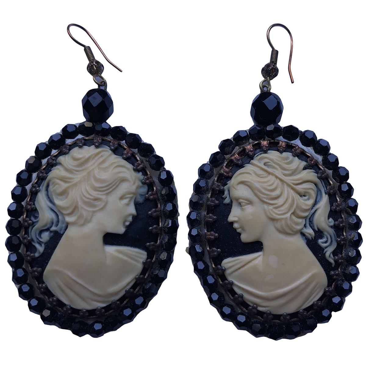 - Boucles d'oreilles Medailles pour femme en metal - noir