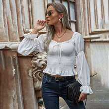 Flounce Sleeve Tie Front Shirred Blouse