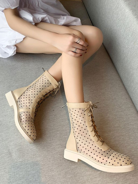 Milanoo Women Summer Boots Apricot Round Toe Polka Dot Zip Up Ankle Boots