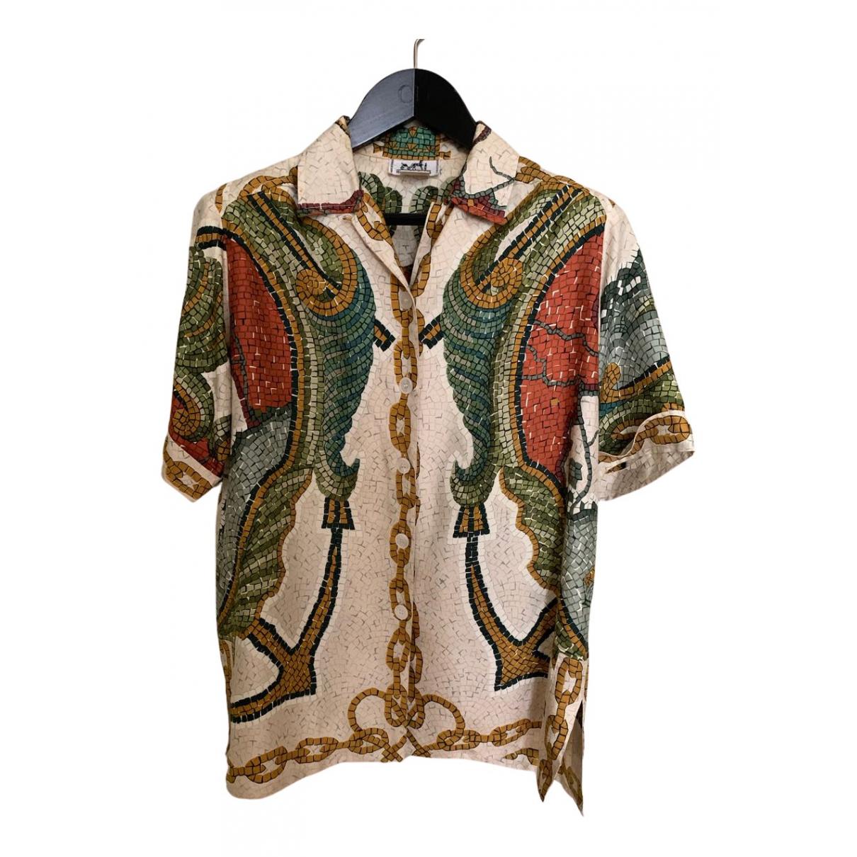 Hermes - Top   pour femme en soie - multicolore