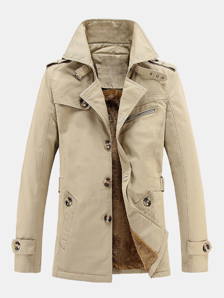 Mens Business Casual Thicken Fleece Lined Mid-long Single Breasted Trench Coat