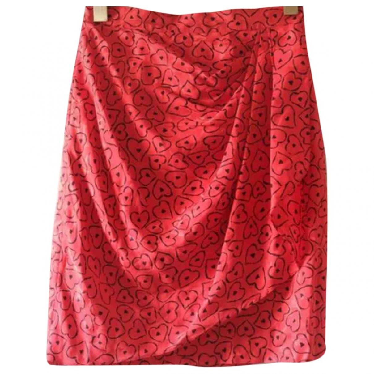 Azzaro - Jupe   pour femme en soie - rouge