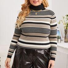 Pullover mit Streifen Muster und Rollkragen