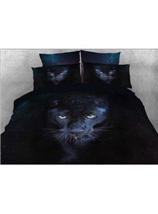 Vivilinen 3D Wild Panther Printed 5-Piece Black Comforter Sets