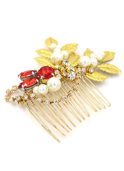 Milanoo Peine de oro pelo Pin Tiara nupcial de boda Rhinestone rojo perla tocados (11 Cm X 7 Cm)