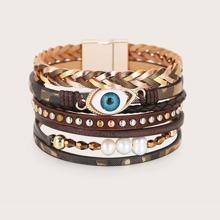 Mehrschichtiges Armband mit Kunstperlen Dekor